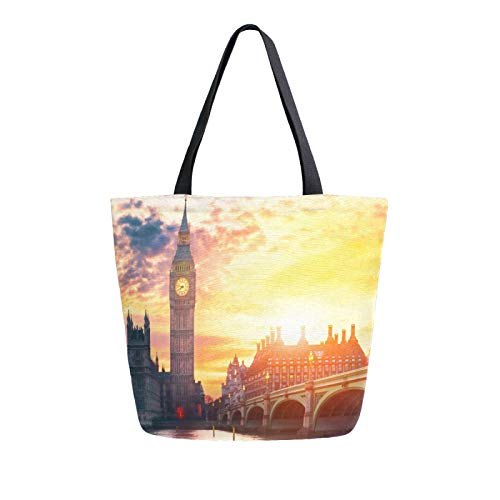 JinDoDo Canvas Bag Big Ben Building Sunset Reusable Tote Bag Women Handbag for Shopping Travel Beach School