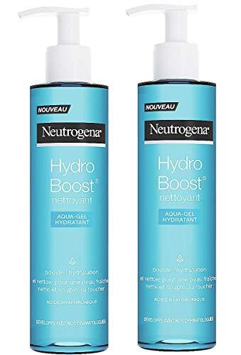 Neutrogena Hydro Boost Aqua-Gel hydratant Nettoyant Visage – Soin visage démaquillant et hydratant pour peau sèche – Lot de 2 flacons pompe de 200 ml