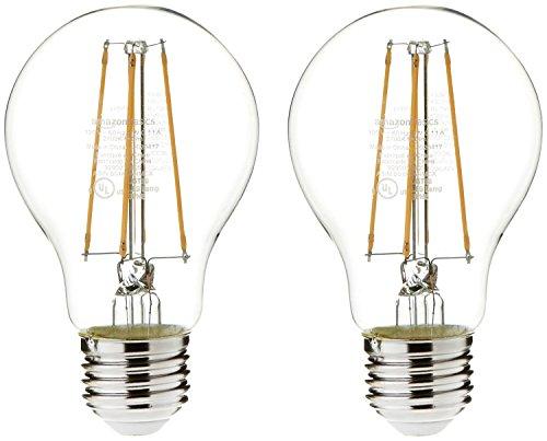 AmazonBasics 60 Watt Equivalent, Clear, Soft White, Non-Dimmable, 15,000 Hour Lifetime, A19 LED Light Bulb | 2-Pack