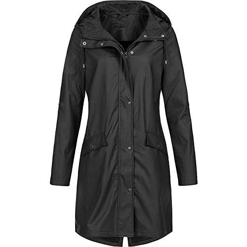 TWIFER Feste Regenjacke der Frauen im Freien Hoodie imprägniern Langer Mantel Windundurchlässiger Trenchcoat