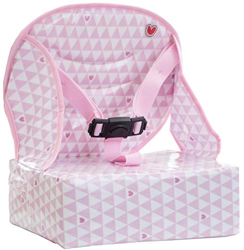Baby-To-Love Easy Up, Rehausseur chaise Bébé Compact et Nomade (Pink Heart)