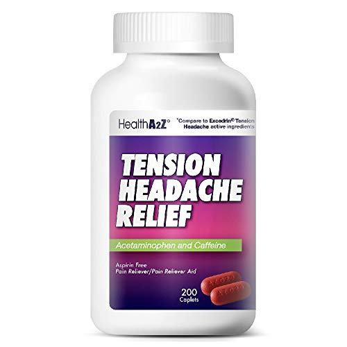 HealthA2Z Tension Headache Relief, Aspirin Free, Compare to Excedrin Active Ingredient, 200 Caplets