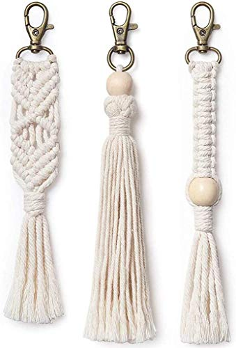 Mini Macrame Bag Charms with Tassels Handmade Accessory for Car Key Purse Phone Wallet Unique Wedding Gift, 3-Pack
