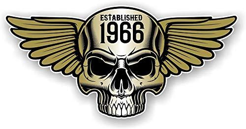 Vintage Biker Totenkopf mit Flügeln Etablierte 1966 Cafe Racer Motorrad Helm Biker Frisiertes Auto Retro Style Vinyl Auto Aufkleber 125x60mm