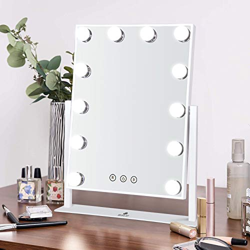 BSLE Makeup Mirror with Lights, Hollywood Vanity Mirror with 12pc Dimmable Lights, 3 Color Lighting Mode Touch Control Tabletop for Dressing Dresser (White-Large)