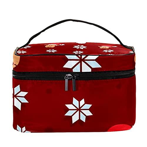 Sacchetti di trucco per le donne e le ragazze tenuto in mano caso cosmetico organizzatore sacchetto portatile da viaggio toilette Natale calze rosse, Multicolore 6