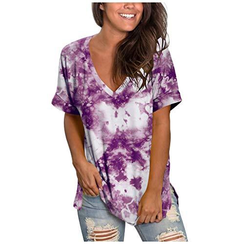 YBWZH Tank Top Damen Sommer Tunika Top Locker Farbverlauf T-Shirt V Ausschnitt Kurzarm T-Shirt Tops Bluse Plissiert Floral Henley Shirt Bluse T Shirt