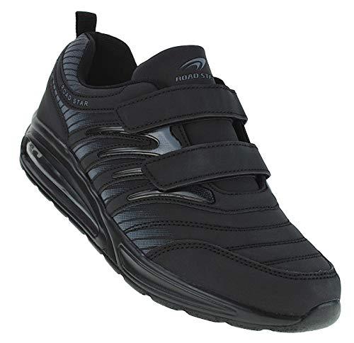 Bootsland Unisex Klett Sportschuhe Sneaker Turnschuhe Freizeitschuhe 001, Schuhgröße:44, Farbe:Schwarz