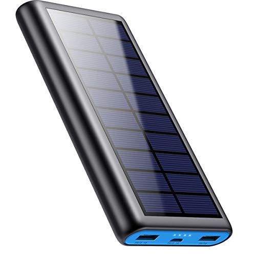 Powerbank Solare 26800mAh, VOOE【2020 Chip intelligente】Caricabatterie Solare Portatile Caricatore Solare Impermeabile Batteria Esterna 2 Porte 3.1A Ricarica Rapida per Cellulare iPad Tablets