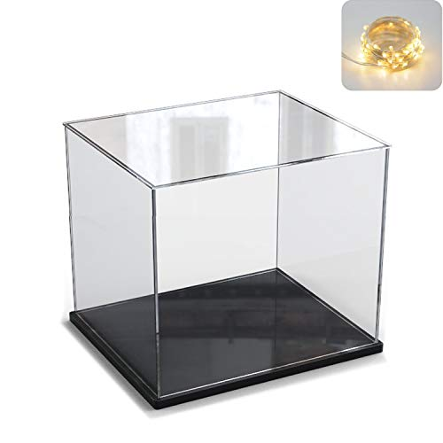 Elepure - Caja de cristal acrílico transparente para colección Lego – Figura mejorada, expositor, caja de exhibición antipolvo con base para juguetes, minifiguras (negro, 20 x 20 x 20 cm)