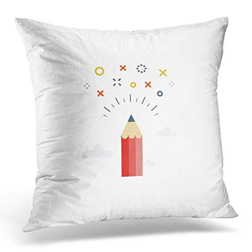 Throw Pillow Covers Workshop Creative Writing Storytelling Graphic Design Studio Symbol Drawing Sketching Concept Project Decorative Pillows case 18 x 18 Inches/45x45cm Home Decor Sofa Cushion Cover