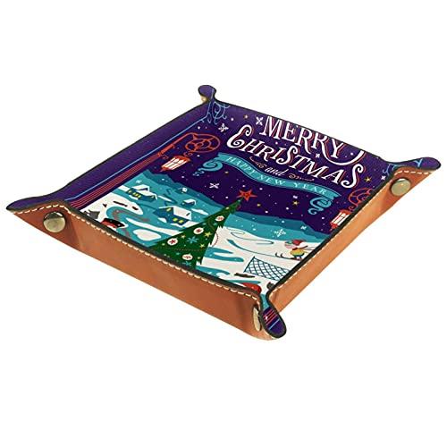 Piccola scatola portaoggetti, svuotatasche da uomo,Biglietto di auguri Cartolina di Natale con Babbo Natale,Organizer in pelle catchall per portamonete portachiavi