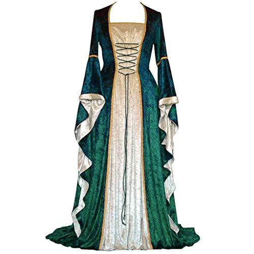 Fasclot Women's Dress, Women's Vintage Celtic Medieval Floor Length Renaissance Gothic Cosplay Dress