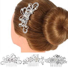 Sanwood Peigne De Mariage, Pince Strass Perle Faux Femmes Coiffe Demoiselle D'Honneur Peigne En éPingle à Cheveux MariéE 2#