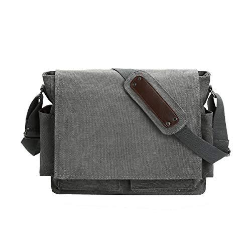 Eshow heren canvas vrije tijd dagelijks schoudertas schoudertas dames heren 14 inch laptop zwart/bruin