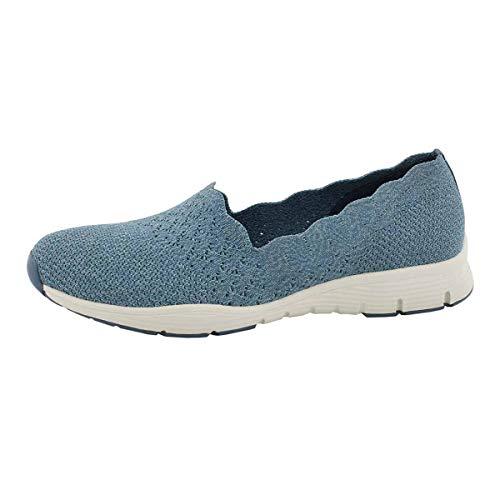 Skechers Women's Seager Stat Slip On Shoe Denim 8.5 Medium US Blue