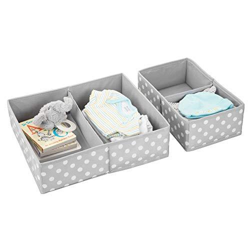 mDesign 2er-Set Aufbewahrungsbox fürs Kinderzimmer – faltbare Kinderzimmer Aufbewahrungsbox in 2 Größen für Babykleidung – Kinderschrank Organizer aus atmungsaktiver Kunstfaser – grau und weiß