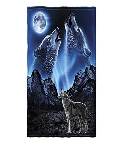 Stillshine. 3D Lobo Toalla de Playa Microfibra Extra Grande Gigante Doble de Secado Rápido para Viajar Gran Tamaño para Adulto Hombre Niños Toallas de Baño XXL Divertidas (Azul,150 x 200 cm)