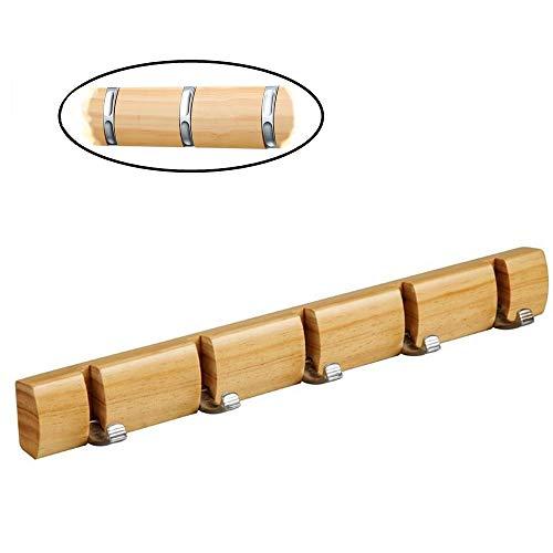 Garderobenhaken aus Naturholz Kleiderhaken mit 5 Versteckte Haken Praktisch und Schöne Deko an der Wand, 25KG Belastung