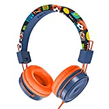 Baseman Kids Headphones with Microphone, Wired On-Ear Headsets with Safe Volume Limited 85 dB, Foldable and Adjustable Headphones with a 3.5mm Jack Cord for Children/School/Cellphone/Tablet Orange