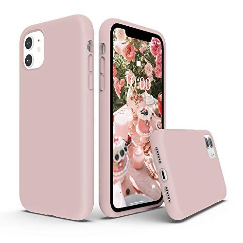SURPHY Coque iPhone 11, Silicone Liquide Case avec Doux Microfibre Coussin Doublure Cover Protection Bumper Anti-Choc Housse Étui pour iPhone 11 6.1 Pouces - Rose