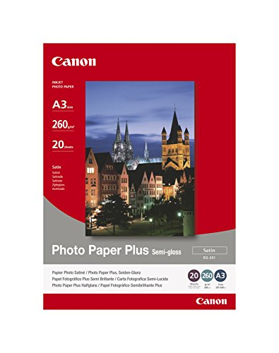 Canon SG-201 - Papel fotográfico plus semi brillante (A3, 20 hojas, acabado satinado, 260g/m2)