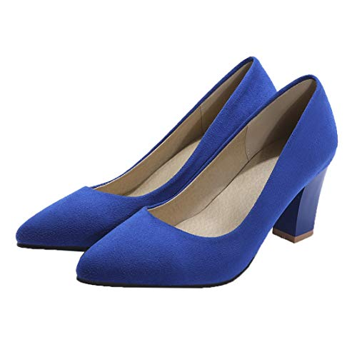 MISSUIT Damen Blockabsatz High Heels Pumps Spitz Dicker Absatz Geschlossen Ohne Verschluss Schuhe(Blau,41)