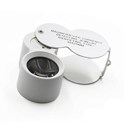 ルーペ 拡大鏡 LED ライト付き 40倍 UVライト ジュエリールーペ スライド 専用ケース付き 携帯 虫眼鏡_75149