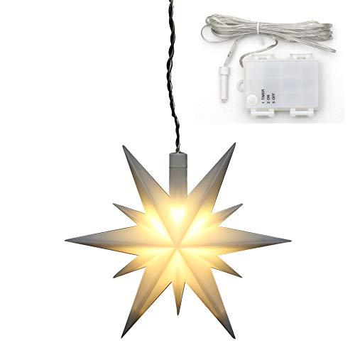 Dekohelden24 Weihnachtsstern aus Kunststoff in weiß, für Innen und Außen geeignet, inkl. LED Beleuchtung und 6h Timer, für Batteriebetrieb. Maße L/B/H: 13,5 x 5,5 x 12 cm.