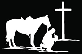 Christian Cowboy Horse Praying Car Truck Window Bumper Vinyl Graphic Decal Sticker- (6 inch) / (15 cm) Wide GLOSS WHITE Color