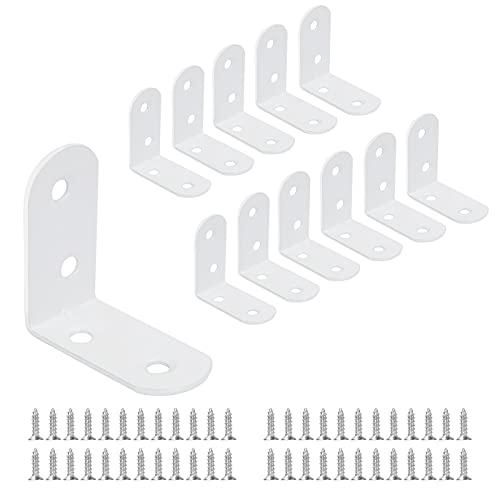 12 Stücke Winkel Klammern 40 * 40mm, JatilEr Edelstahl Winkelverbinder 90 Grad L Form Ecke Klammer Möbel Winkel mit 48 Schrauben für Fest Verbunden Tabelle Stuhl Bücherregal - Weiß