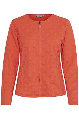 fransa Damen Damen Cardigan mit Musterstruktur und Reißverschluß, Orange (Hot Coral 60175), 42 (Herstellergröße: XL)