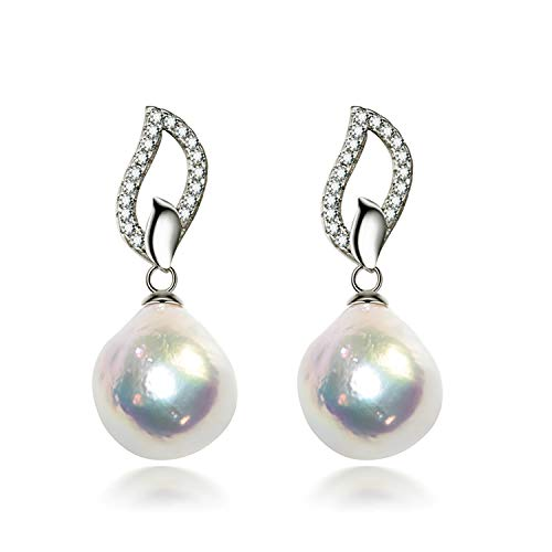 Ohrringe für Damen,Süßwasser-Zuchtperlen,Barockohrringe Groß, 11-12 mm,925er-Silber,Güteklasse AAA weiß
