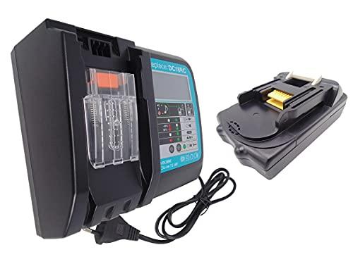 CYDZ Reemplazar Makita batería BL1815 BL1815N 18V 1500mAh & 3A Cargador DC18RC Con pantalla y carga USB para DHP458Z DCL500Z DJN161Z DFR550Z DTW251RMJ DTW450Z