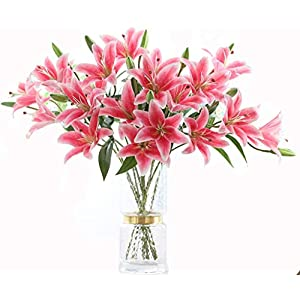 LNHOMY 6 Pack Artificial Lily Flowers Full Bloom Fake Latex Real Touch Artificial Flower Bouquets with 3 Heads Wedding Party Decor Home Décor (Rose Pink)