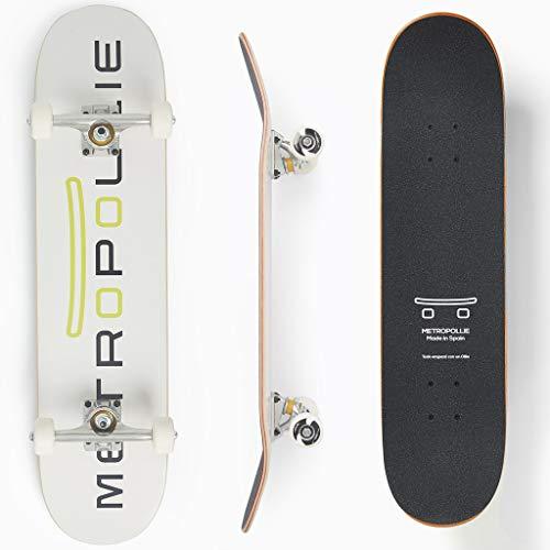 Metropollie Skateboard Completo, Monopatín para Niños Niñas Adolescentes Adultos Principiantes, Tabla de 7 Capas 100% Madera de Arce Canadiense, Rodamientos ABEC-5 Ruedas de 52MM y Lija Jessup.