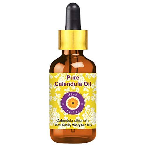 Deve Herbes Aceite de caléndula pura (Calendula officinalis) con gotero de vidrio 100% de grado terapéutico natural con aceite infundido 15ml (0.50 oz)