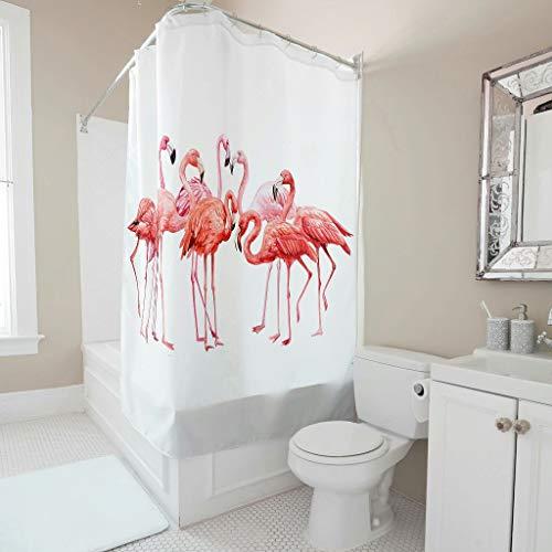 BTJC88 Cortina de ducha con diseño de flamenco, con divertido gráfico, inoxidable, con ganchos, para apartamento blanco, 150 x 200 cm