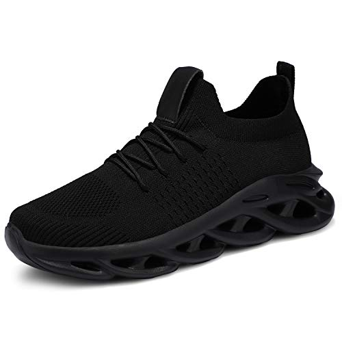 UUBARIS Men's Lightweight Running Shoes Blade Type Stylish Sneakers Tennis Gym Shoes Black Size 8.5