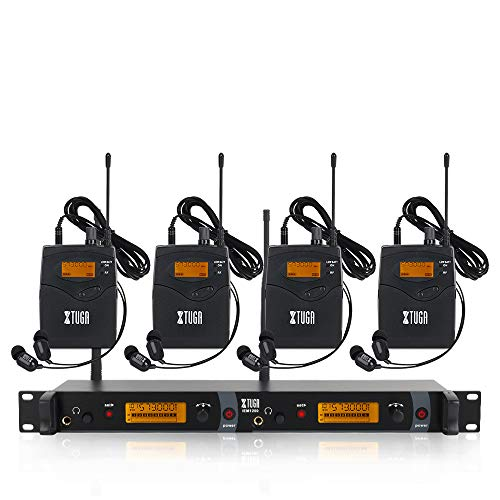 IEM1200 Wireless in Ear Monitor System 2 Channel 2/4 Bodypack Monitoring with in Earphone Wireless Type Used for Stage or Studio (4 Bodypacks)