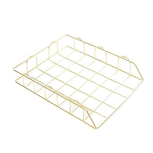 Fablcrew - Archivador de alambre de hierro, apilable, para oficina, bandeja de correo para clasificar documentos, color dorado