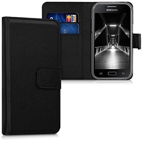 kwmobile Hülle kompatibel mit Samsung Galaxy J1 (2015) - Kunstleder Handyhülle mit Kartenfächern - in Schwarz