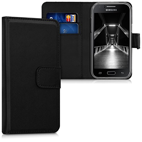 kwmobile Hülle kompatibel mit Samsung Galaxy J1 (2015) - Kunstleder Wallet Case mit Kartenfächern Stand in Schwarz