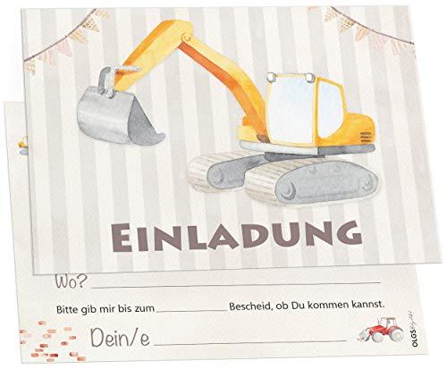 12 Einladungskarten Baustellen Party Bagger Kindergeburtstag Kinder Party Geburtstag-Einladungen zum ausfüllen (Jungen)