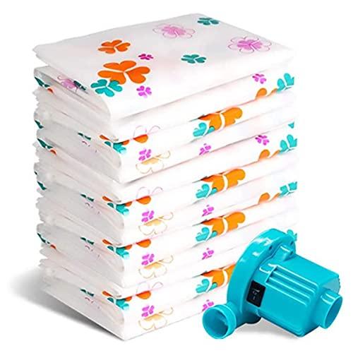 Bolsas comprimidas Bolsa para ahorrar espacio Bolsas de almacenamiento al vacío Almacenamiento de bomba eléctrica Mantas para ropa de cama principal 5 paquetes de bolsas de almacenamiento,70*100cm
