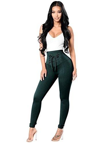 Pantalones Cintura Alta Skinny Mujer Pantalon Slim Tiro Alto Mujer Jeggings Leggins Push Up Señora Leggings Yoga Fitness Deporte Pantalones Talle Alto Deportivos Elasticos Mujer Verde Oscuro M