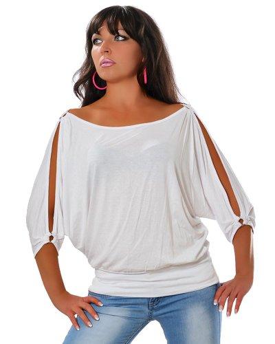 Damen Sommer Tunika Elegante Bluse 3/4-Arm DA 12643 Farbe Weiß Größe One Size