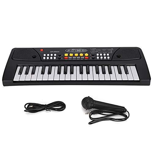 Zerodis Piano eléctrico para niños 37 Teclas Piano electrónico con Cable USB Simulación Instrumento Musical con micrófono Juguete Educativo para niños Regalo de Arte para niños(Piano electrico)