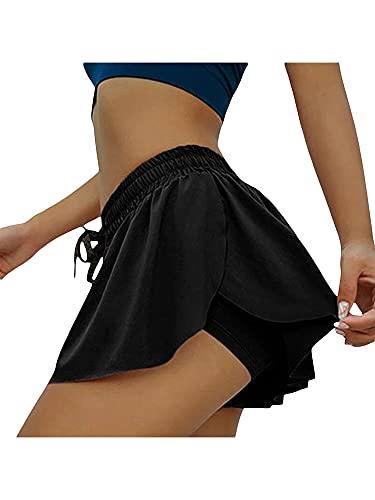 Nensiche Faldas de tenis atléticos de cintura alta para mujer, con pantalones cortos, lindas faldas de golf para correr y hacer deporte, Negro, 36