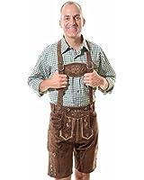 Lederhosen Costume Authentic Oktoberfest Lederhosen GEORG, Dark Brown, Size 40